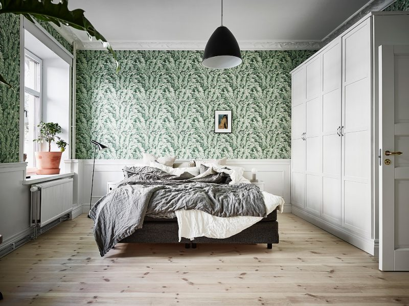 SCandinavian apartment with green bedroom   www.my-full-house.com   Top Scandinavian Interior and LIfestyle Blog